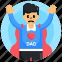 man, super father, dad, male, super dad
