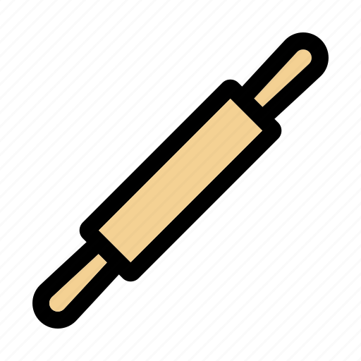baking, cooking, equipment, household, kitchen, rolling pin, utensil icon
