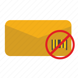 barcode, cancel, delete, letter, post, stop icon