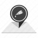 drop, gell, glue, paper, place, pointer icon