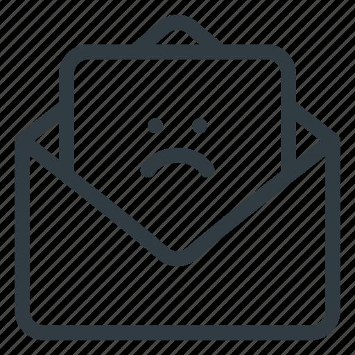 feedbac, feedback, mail, sad icon