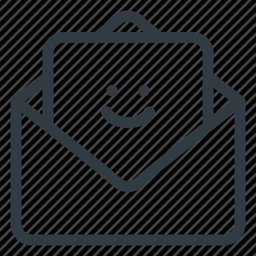 feedback, mail, smile icon