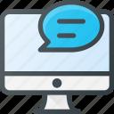 computer, feedback, masage icon