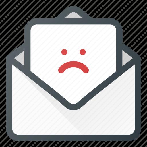 feedbac, feedback, mail, negative, sad icon