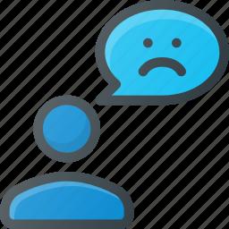 bad, dislike, feedback, mesage, negative, sad, user icon