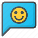 feedback, like, message, positive, smile icon