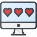 desctop, feedback, heart, like, rating icon