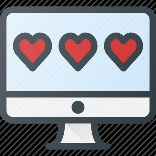 desctop, feedback, heart, like, rating icon