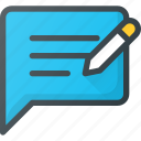 application, content, feedback, write icon