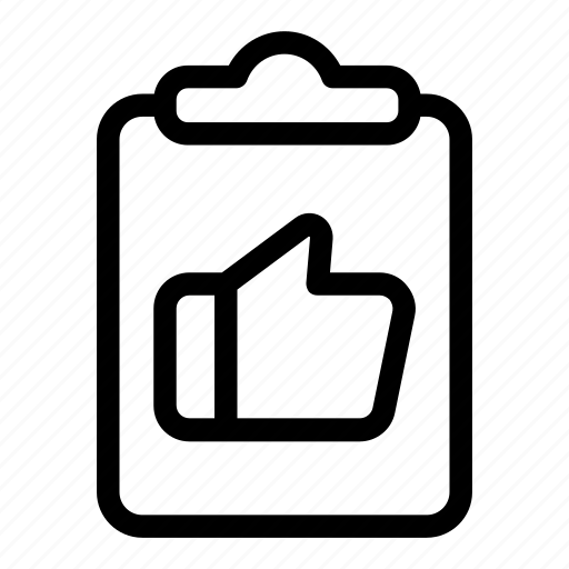 clipboard, like, quality, rating, report, star, thumb up icon