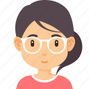 avatar, fashion, female, girl, glasses, hair, hairstyle icon