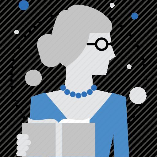 female, lady, lecturer, professor, teacher, tutor, woman icon