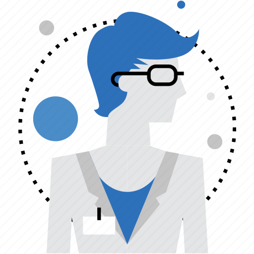analyst, business, employee, expert, female, scientist, stylist icon