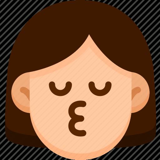 emoji, emotion, expression, face, feeling, kiss icon