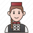 bosnia, bosnian, female, herzegovina, traditional icon