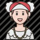 brazilian, folk, woman, brazil, dress icon