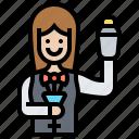 bartender, female, lounge, service, waitress icon