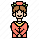 assistant, bellboy, girl, hotel, service icon