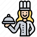 chef, cook, job, restaurant, woman icon