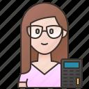 accountant, banker, calculator, cashier, employee icon