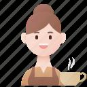 barista, cafe, employee, service, waitress icon