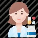 hospital, occupation, pharmacist, professional, woman icon