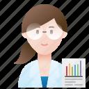 expert, woman, analyzer, specialist, scientist icon