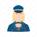 bus, bus driver, driver, female bus driver icon