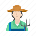 farm, farmer, female farmer, plants icon