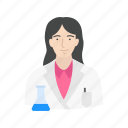 chemist, female scientist, lab, laboratory icon