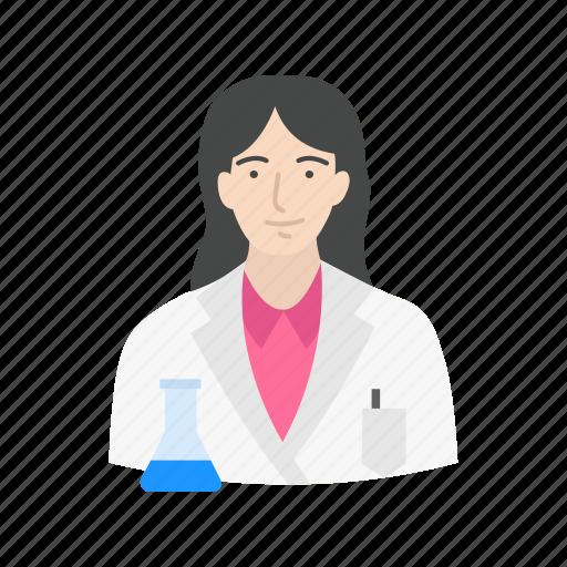 chemist, female scientist, lab, laboratory icon
