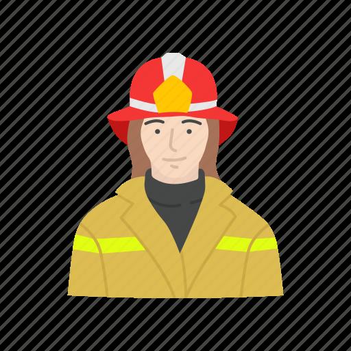 female firefighter, fire, fire woman, firefighter icon