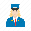 aviator, captain, female pilot, pilot, conductor icon