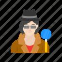 detective, female, female detective, investigator icon