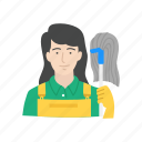 clean, custodian, female janitor, janitor icon