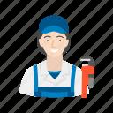 female, female plumber, plumb, plumber icon