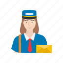 courier, letter, mail woman, woman icon