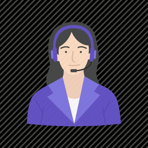 call center, female, female receptionist, receptionist icon