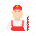 electric, electrician, female, female electrician icon