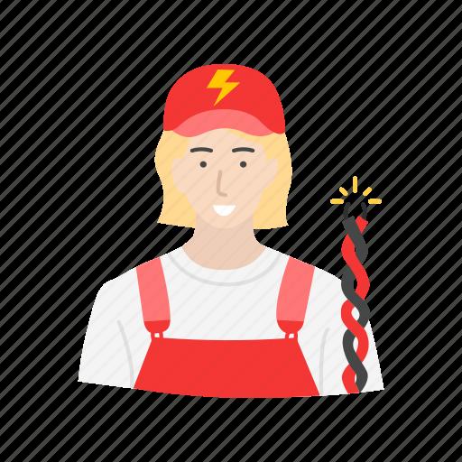 electric, electrician, female, female electrician icon