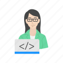 developer, female, female web developer, web developer icon
