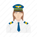 captain, female, female pilot, pilot icon