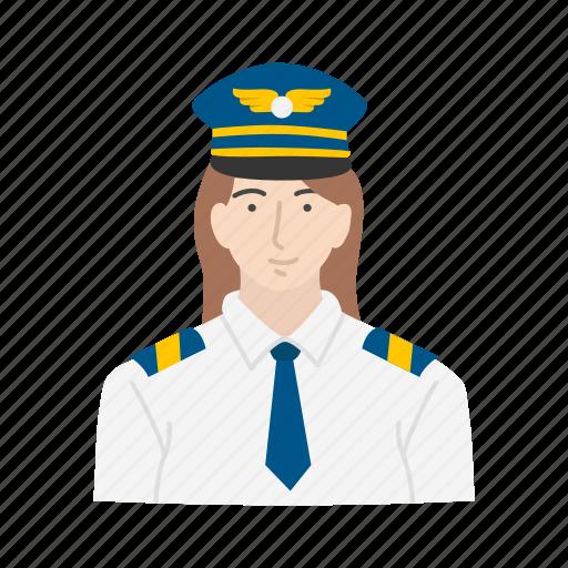 captain, female, female pilot, pilot icon