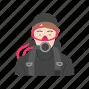 diver, female diver, female scuba driver, scuba icon