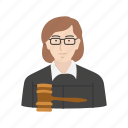 female, female judge, judge, lawyer icon
