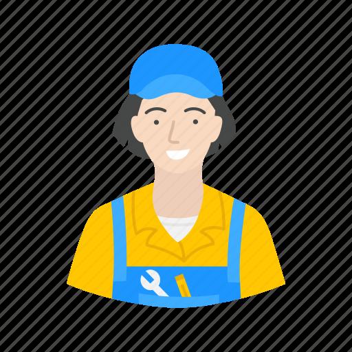 female technician, mechanic, repair, technician icon