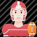 american, female, football, player, sport icon