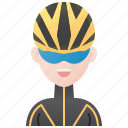 cycling, cyclist, girl, racing, sport icon