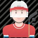 hockey, ice, player, professional, woman icon