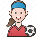 football, player, soccer, sporty, women icon